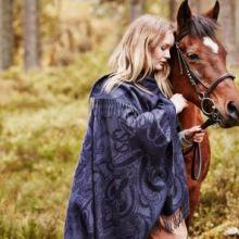 """Роскошное кашемировое шотландское  пончо с орнаментом """"Пейсли Сапфир"""" , высокая плотность, 100 % драгоценный кашемир, Paisley Cape, Blue (Сапфировая расцветка), плотность 7"""