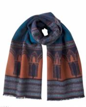 """Роскошный широкий теплый шарф, 100 % драгоценный кашемир """"Кафедральный Собор"""" (расцветка """"нейви"""") CATHEDRAL NAVY , плотность 7"""