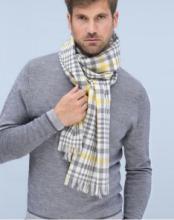 легкий тонкорунный  большой шарф Данди (Серый и Желтый)  Dundee Check Grey and Yellow 100% шерсть мериноса,   плотность 2
