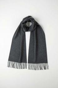 однотонный кашемировый шарф (100% драгоценный кашемир), классический темно-серый цвет, GRANITE CLASSIC CASHMERE  высокая плотность 7